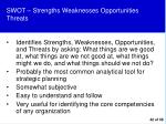 swot strengths weaknesses opportunities threats