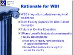 rationale for wbi