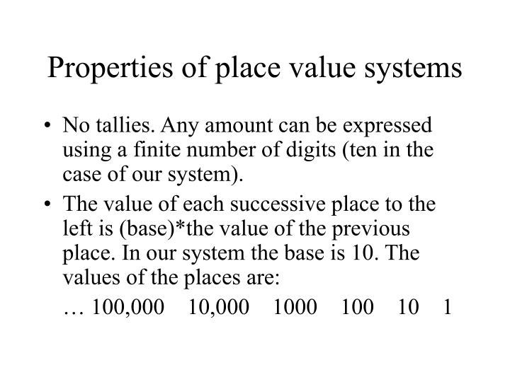 Properties of place value systems