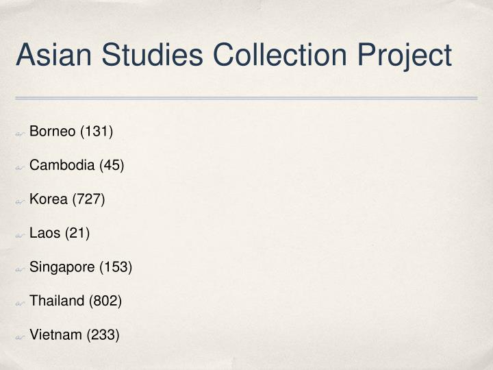 Asian Studies Collection Project
