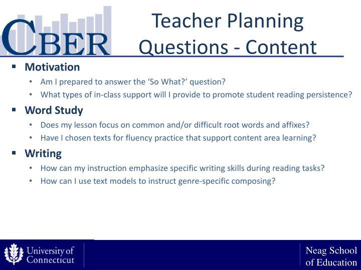 Teacher Planning Questions - Content