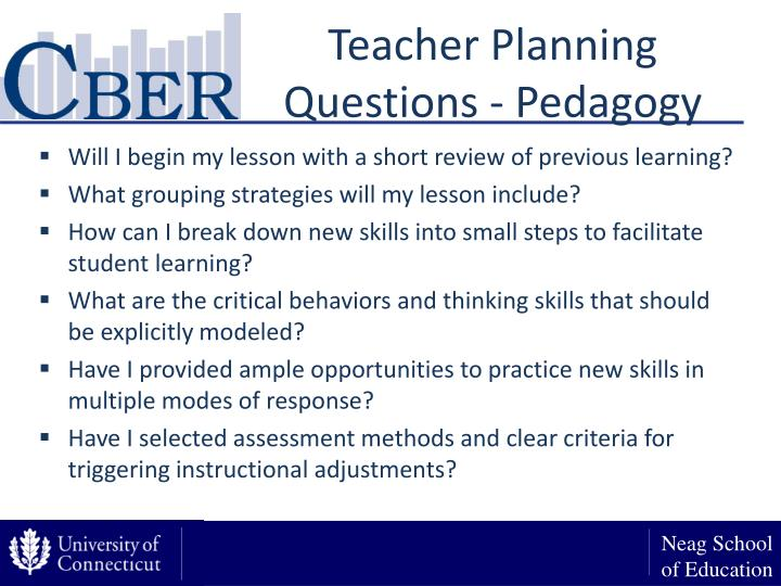 Teacher Planning Questions - Pedagogy