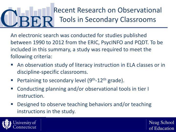 Recent Research on Observational Tools in Secondary Classrooms