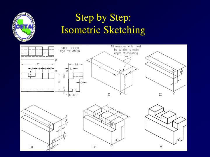 Step by step isometric sketching
