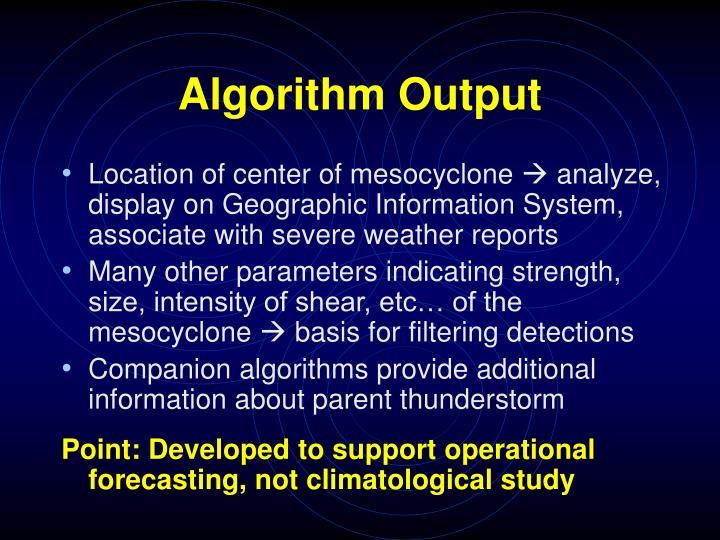 Algorithm Output