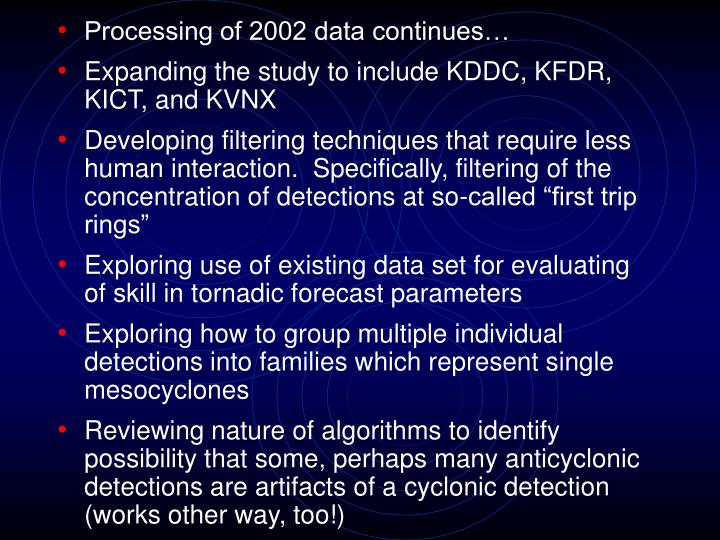 Processing of 2002 data continues…