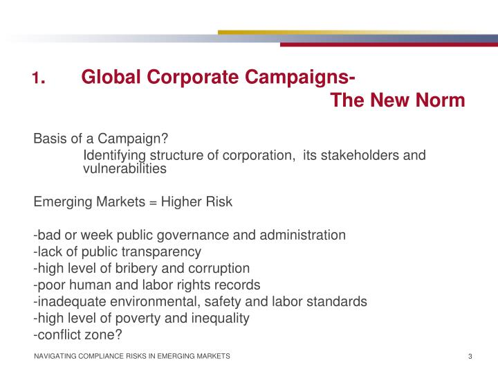 1 global corporate campaigns the new norm