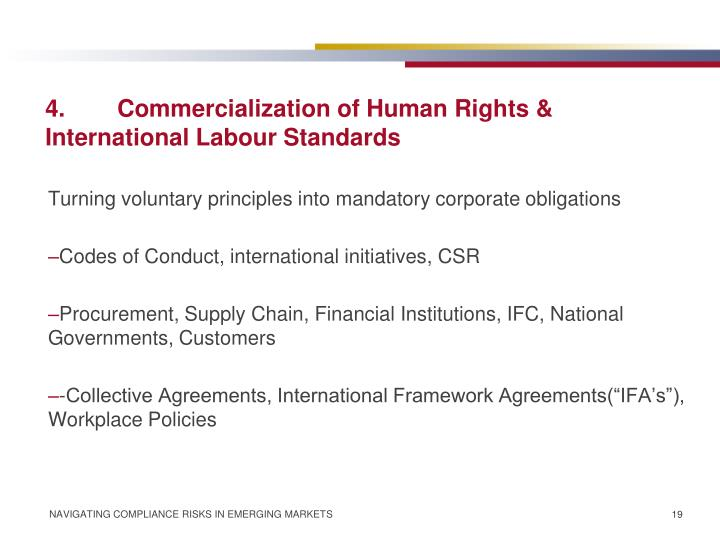 4.	Commercialization of Human Rights & International Labour Standards