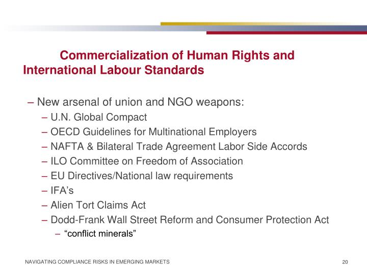 Commercialization of Human Rights and International Labour Standards