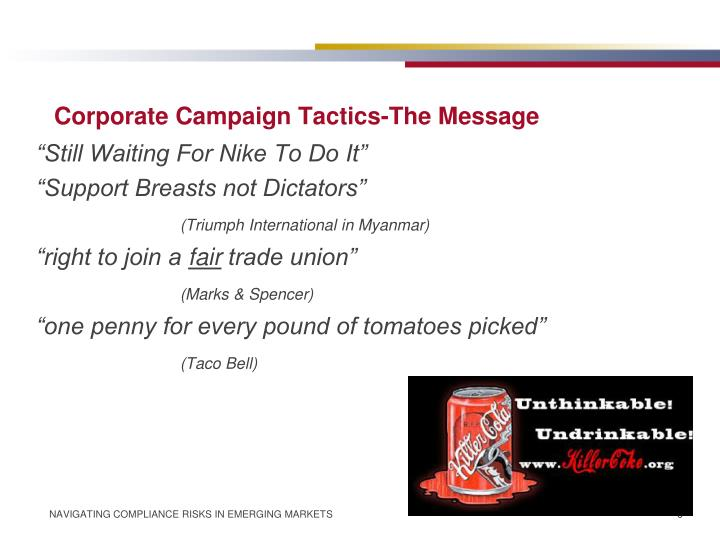 Corporate Campaign Tactics-The Message