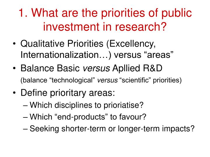 1. What are the priorities of public investment in research?