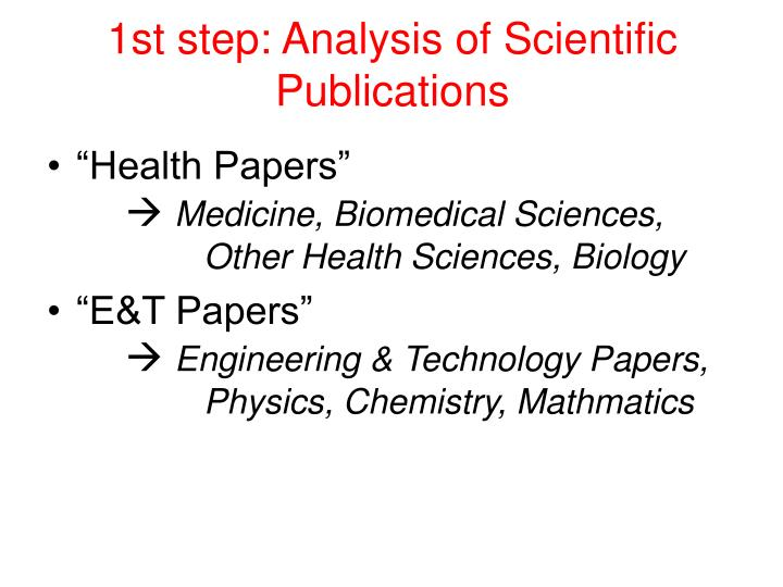 1st step: Analysis of Scientific Publications