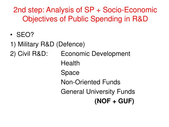 2nd step: Analysis of SP + Socio-Economic Objectives of Public Spending in R&D