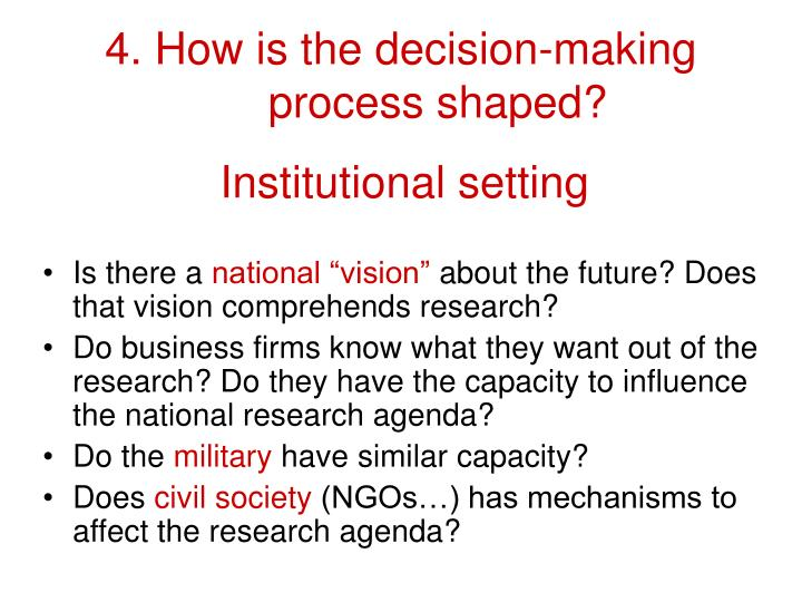4. How is the decision-making process shaped?