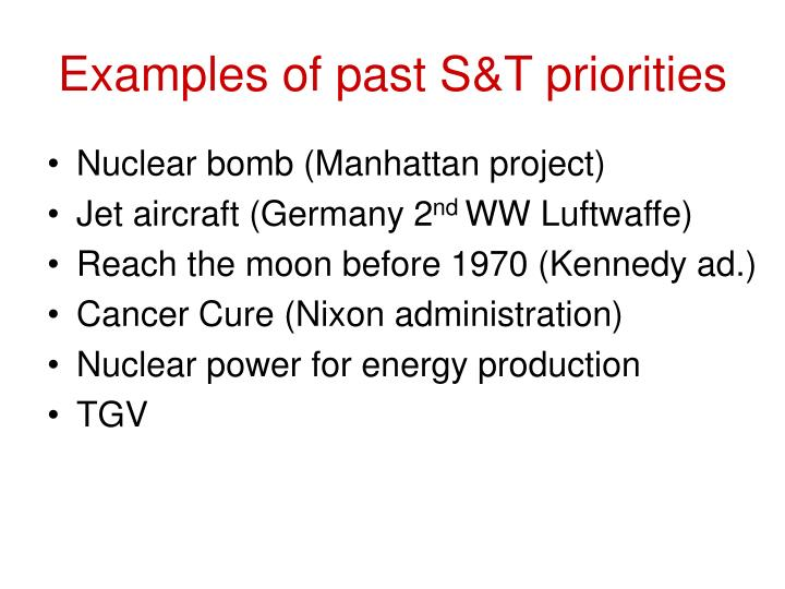 Examples of past S&T priorities