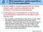 r d expenditure capital expenditure 2 pro rata expenditure