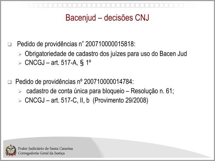 Bacenjud – decisões CNJ