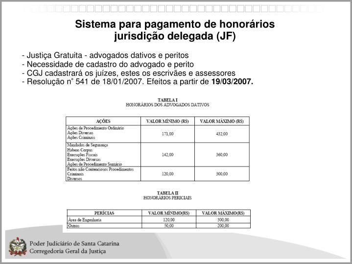 Sistema para pagamento de honorários