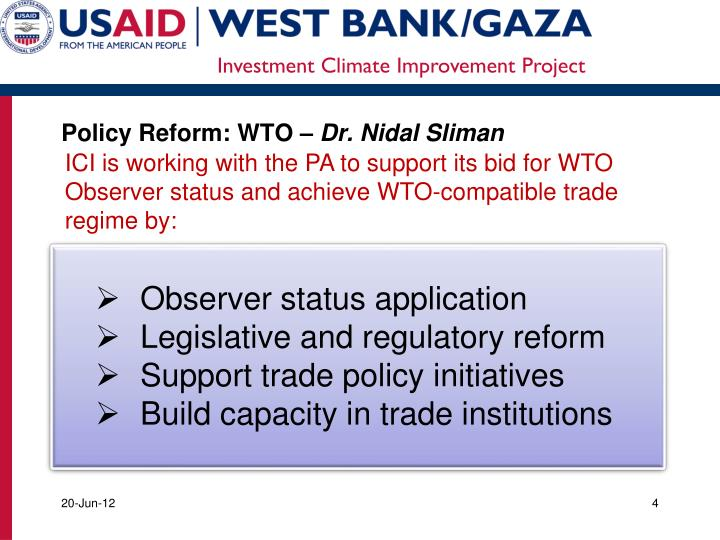 Policy Reform: WTO –