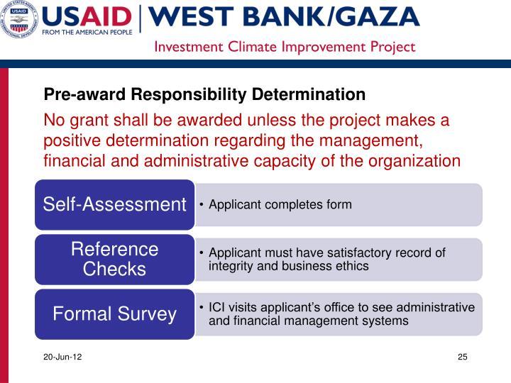 Pre-award Responsibility Determination