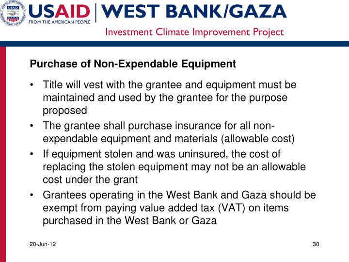 Purchase of Non-Expendable
