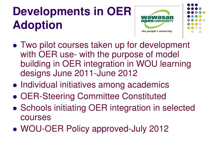 Developments in OER Adoption