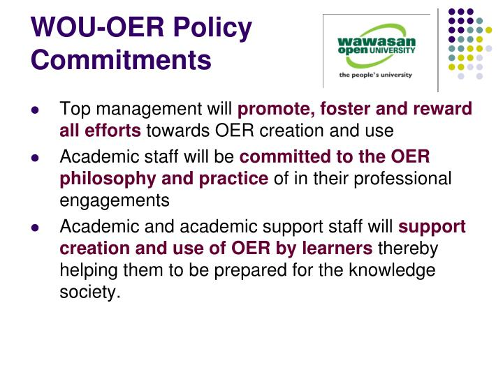 WOU-OER Policy Commitments