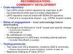 recommendations community development