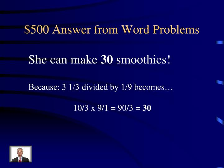 $500 Answer from Word Problems