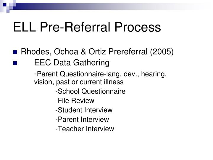 ELL Pre-Referral Process