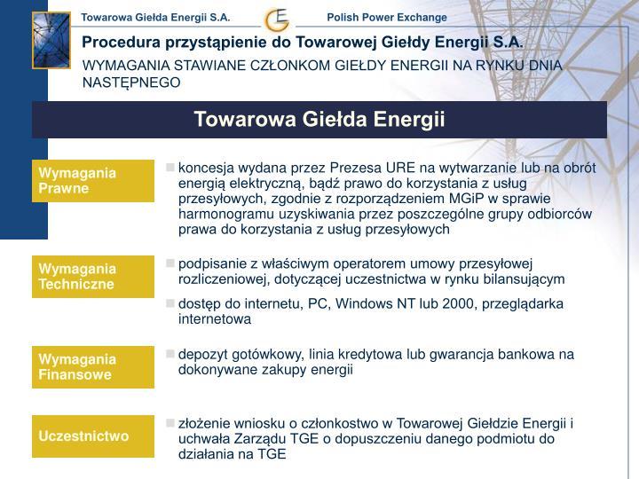 Procedura przystąpienie do Towarowej Giełdy Energii S.A.