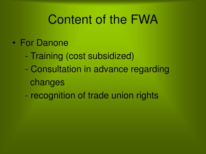 Content of the fwa