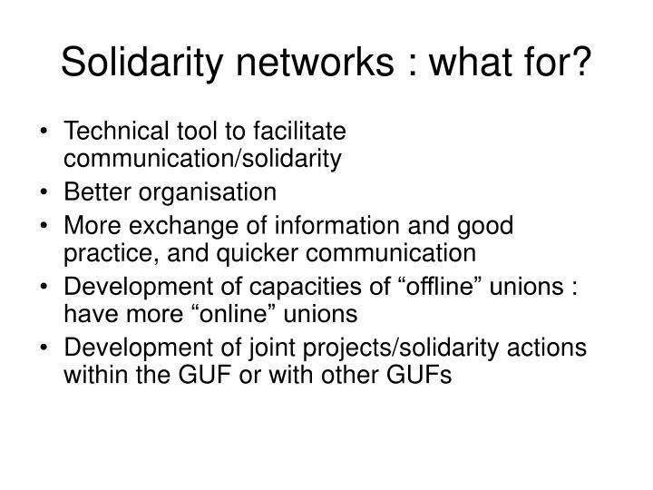 Solidarity networks what for