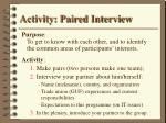 activity paired interview