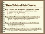 time table of this course
