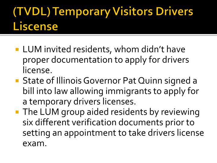 (TVDL) Temporary Visitors Drivers