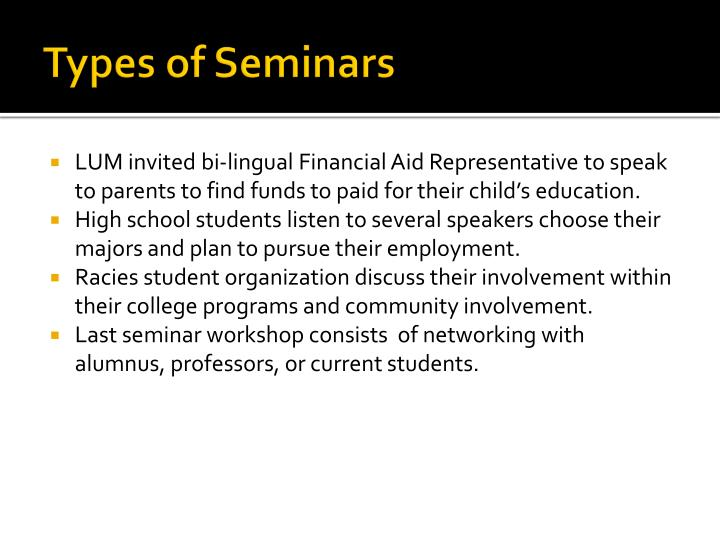 Types of Seminars