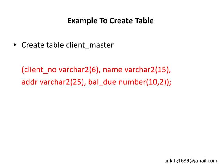Example To Create Table