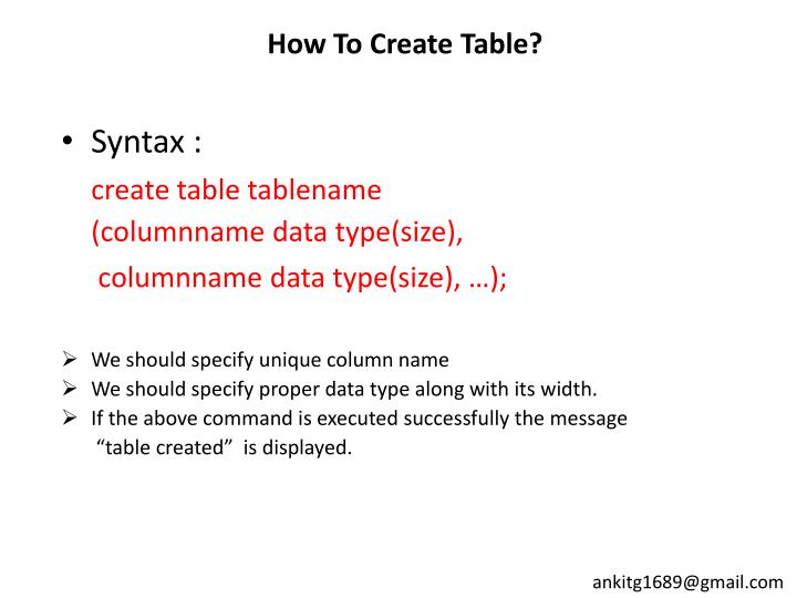 How to create table