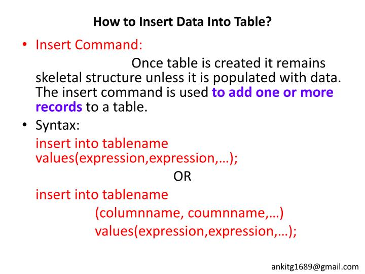 How to Insert Data Into Table?