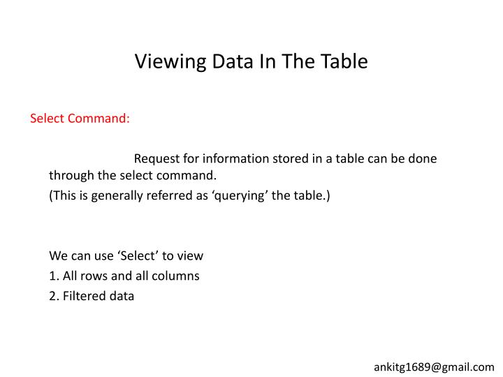 Viewing Data In The Table