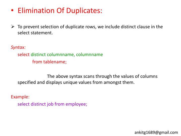 Elimination Of Duplicates: