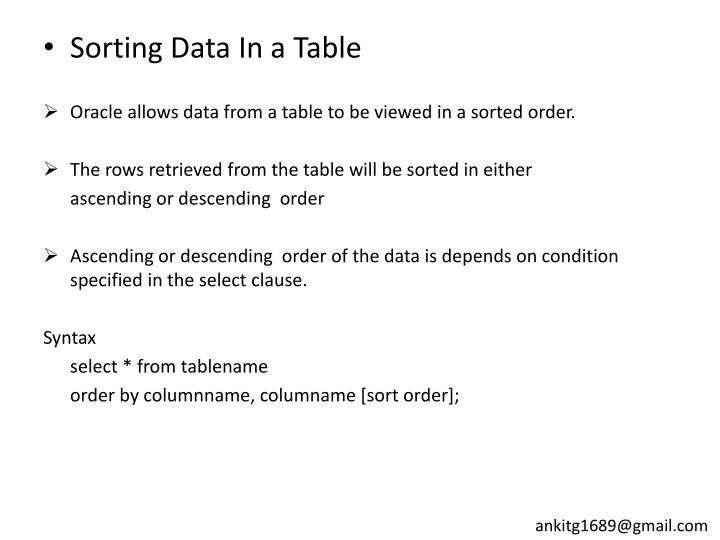 Sorting Data In a Table