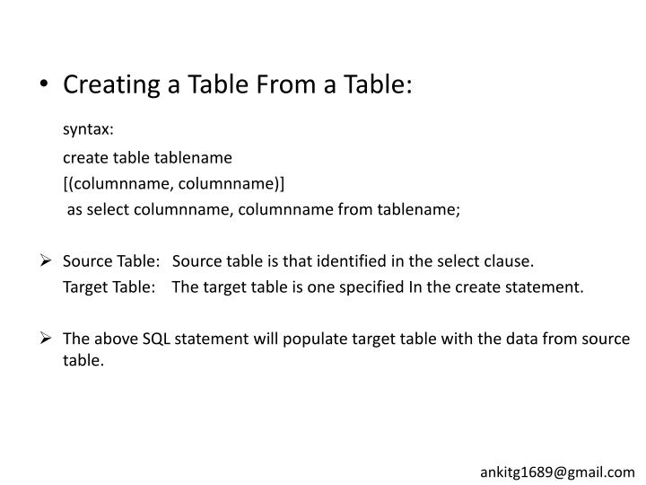 Creating a Table From a Table: