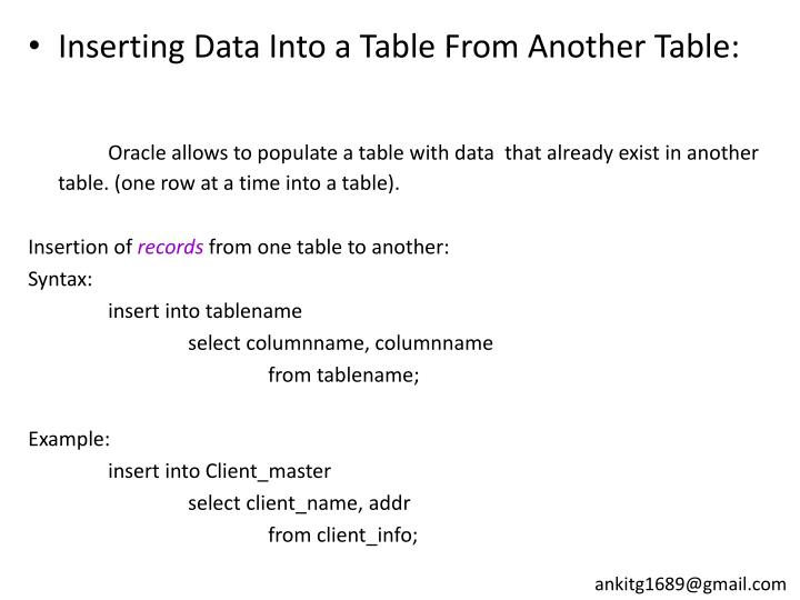 Inserting Data Into a Table From Another Table: