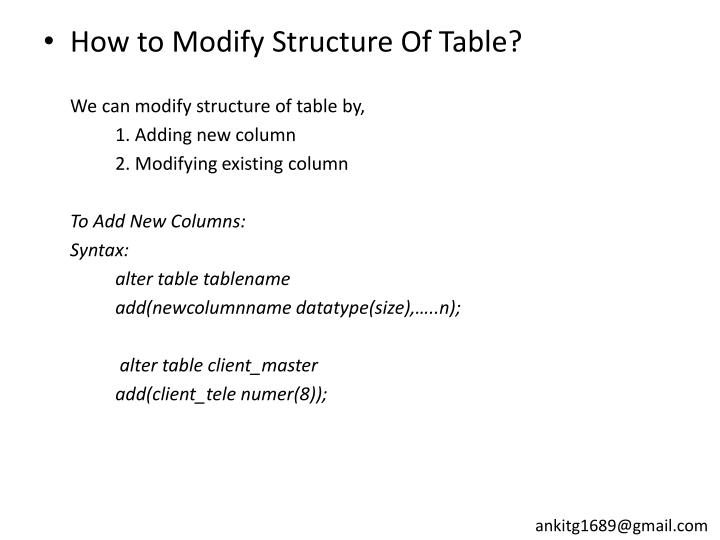 How to Modify Structure Of Table?