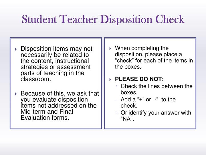 Student Teacher Disposition Check