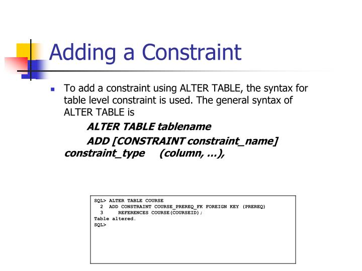 Adding a Constraint