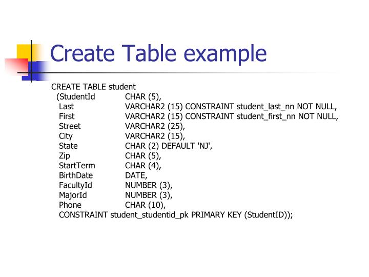 Create Table example