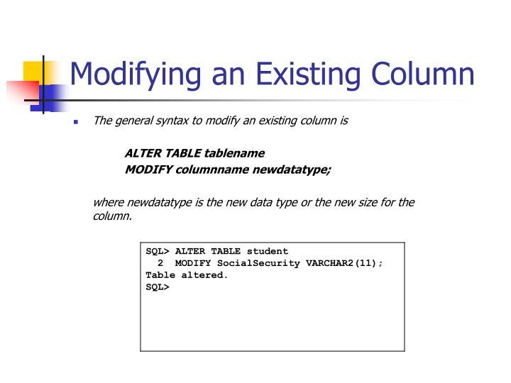 Modifying an Existing Column